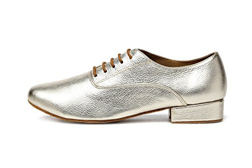 Minishion GL208 Men's Solid Gold Leather Latin Ballroom Professional Social Dance Shoes 10.5 D US by Minishion