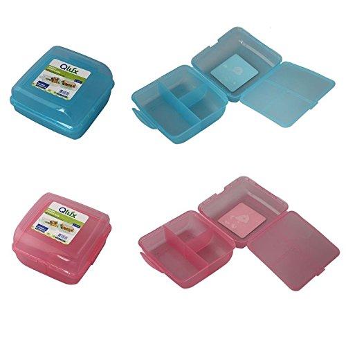 4-Fach Brotdose Brotbox Lunchbox Frühstücksbüchse Pausenbrotdose Brotzeitdose Dose (Rosa)