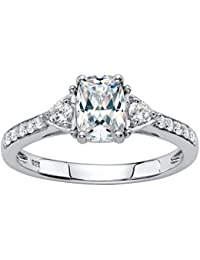 Platinum over Sterling Silver Emerald Cut Created White Sapphire 3-Stone Promise Ring