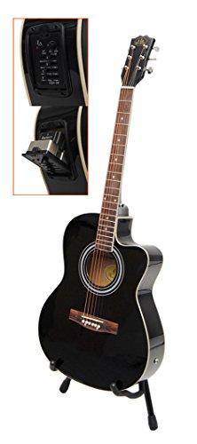 ts-ideen 4570 Elektro Akustik Westerngitarre schwarz mit 4 Band EQ Pickup / Tonabnehmer und Zubehörset: gepolsterte Tasche, Gurt, Ersatzsaiten und Stimmpfeife