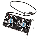 Baosity GPU Cooler, VGA PCI Express Graphics Card Cooling Fan, Double Quiet 90mm Fans- Black