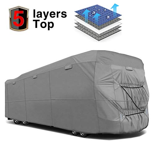 RVMasking Extra-Thick 5-ply Class A RV Cover, Fits 34'1'' - 38' RVs - Breathable All Weather Ripstop Anti-UV Class A Cover with 15 PCS Windproof Buckles & Adhesive Repair Patch(25.4