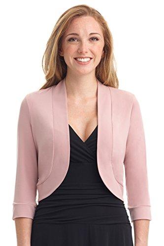 Pink Bolero (Rekucci Women's Soft Knit Rounded Hem Stretch Bolero Shrug (X-Large,Blush))