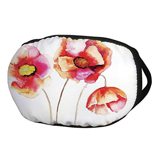 Fashion Cotton Antidust Face Mouth Mask,Poppy,Watercolors Vibrant Poppies Graphic Peace and Death Symbol Flower Sedative Plant Print,Red White,for women & men
