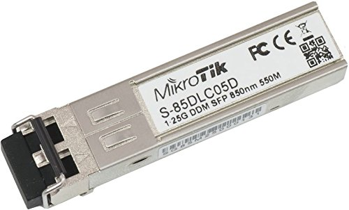 Mikrotik S-85DLC05D is a 1.25G SFP transceiver with a 850nm Dual LC connector for up to 550 meter Multi Mode fiber