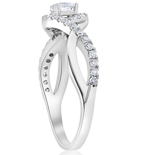 1 cttw Diamond Halo Infinity Engagement Ring 10k White Gold