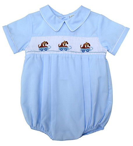 Carriage Boutique Baby Boys Hand Smocked Classic Creeper - Light Blue Dogs in Wagon, 3M