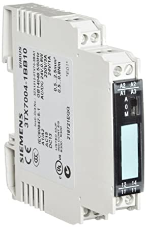 Siemens 3TX7004-1BB10 Interface Relay, Cannot Be Plugged-In, Narrow Design, Screw Terminal, Output Interface With Relay Output, M-O-A Switch, 1 CO Contact, 12.5mm Width, 24VAC/DC Control Supply Voltage