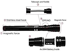 LED Pickup Tool Telescopic to 80 cm Drawing force about 3,2 KG