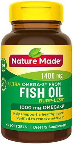 Nature Made Ultra Omega-3 Burpless Fish Oil 1400 mg Softgels w. Omega 3 1000 mg 45 Ct