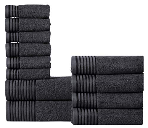 (600 GSM Ultra Soft 100% Combed Cotton 12-piece Towel Set (Charcoal Black): 2 Bath towels, 4 Hand towels, 6 Washcloths, Long-staple Cotton, Spa Hotel Quality, Super Absorbent, Machine Washable)