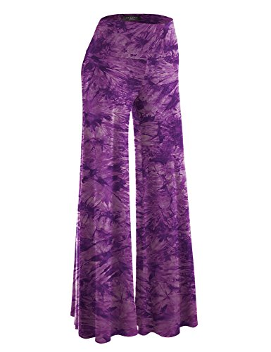 (WB1060 Womens Chic Tie Dye Palazzo Pants XL Purple)