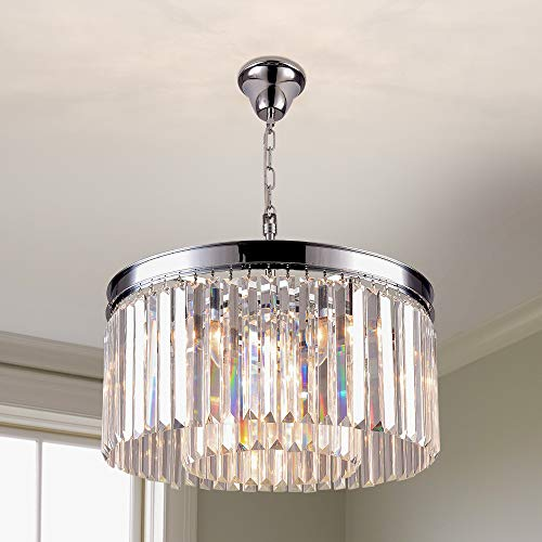 Pendant Crystal Lighting Fixture- 5 Lights Luxury Modern/Contemporary Crystal Prism Chandelier with 2 Tiers Ceiling Light Pendant Light for Dining Room, Living Room 5 Light 1 Tier Crystal