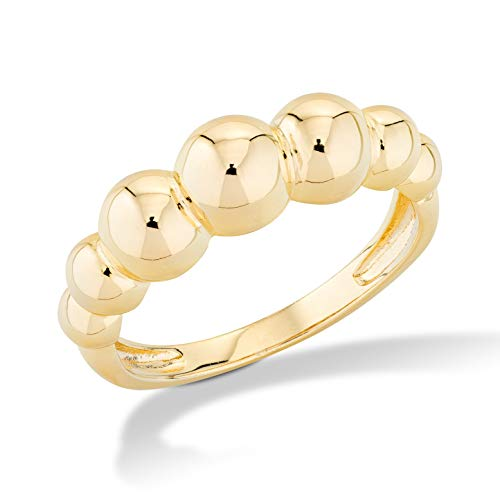 MiaBella Italian 925 Sterling Silver Graduated Bead Ball Ring Jewelry for Women Teens Girls sz 5-6-7-8-9-10 (Yellow-Gold-Plated-Silver, 6) ()