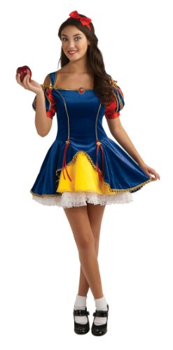 Disney Adult Snow White Costumes (Rubie's Teen Sensations Fairy Tale Princess Costume Dress with Brooch and Headband, Multicolor, Standard)