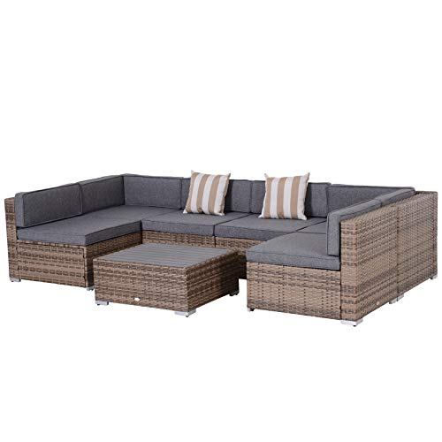 Outsunny 7-Piece Outdoor Wicker Patio Sofa Set, Modern Rattan Conversation Furniture Set with Slatted Top and Mixed Grey Cushions