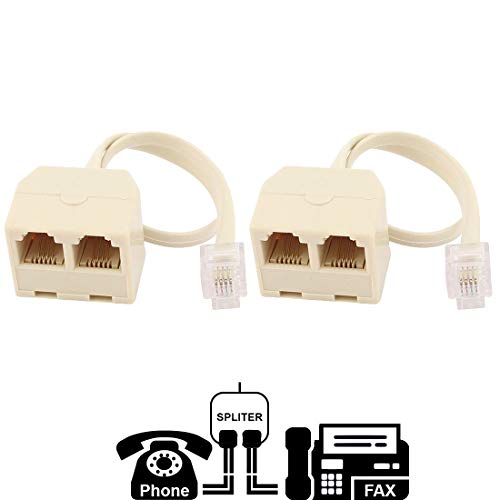 - Two Way Telephone Splitters, RJ11 6P4C, 1 Male to 2 Female Converter, Telephone Wall Adaptor and Splitter for Landline Telephone By True Décor (2 Pack)