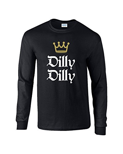 Funny Beer Drinking Dilly Dilly King Crown Outline Long Sleeve T-Shirt-Black-Large