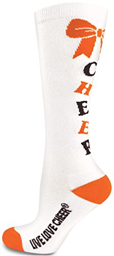 Chassé Girls' Knee-High Bow Sock White/Orange/Black Youth (Socks Bow Orange)