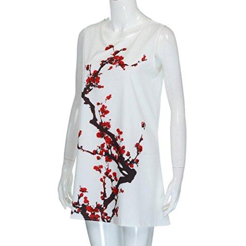 White Blossom Dress Sleeveless Tian Sleeveless Vintage Women Dress Plum Summer Short Floral Beach Small With G Mini Printed Printed Boho Female qU4qwrnROv