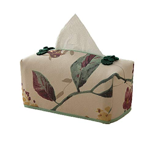 (FieNei Tissue Box Holders Tissue Box Cover Linen Flower Bird Garden Can Be Washed Car Paper Set 20108cm)