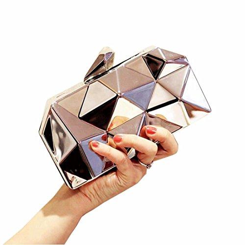 Womens Clutch Fashion Geometic Evening EROUGE Silver Metal Handbag Purse Clutch dU4TwYq