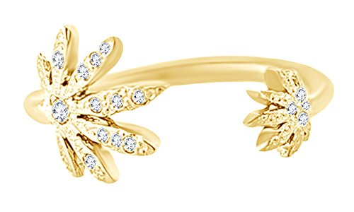 (Round Cut White Diamond Marijuana Leaf Adjustable Toe Ring In 14K Yellow Gold Over Sterling Silver, Ring Size: 4)