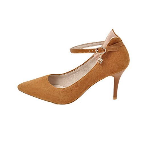 Pumps Frosted WeenFashion Women's Toe High Pointed Shoes Heels Buckle Solid Yellow nO8Of