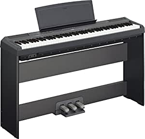Yamaha P115 88-Key Digital Piano Deluxe Bundle with Furniture Stand and 3-Pedal Unit, Black