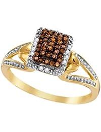 10K Yellow Gold Brandy Diamond Chocolate Brown Beautiful Raised Ring 1/6 Ctw.