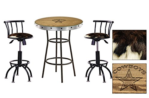 Oak Bar Table Set with Hand-Carved Cowboys Logo and Glass Top & 2 - 24