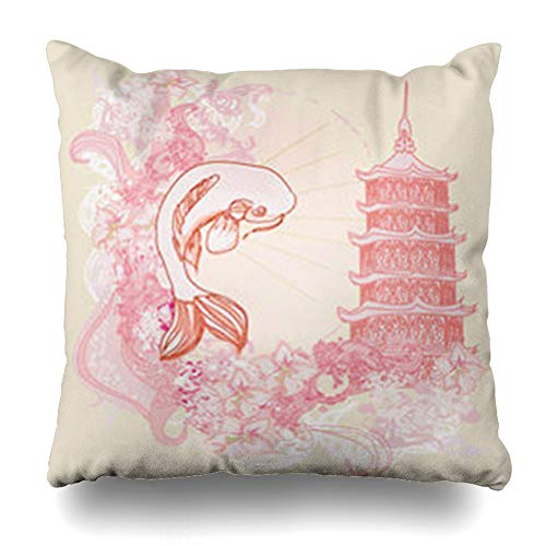 NOWCustom Throw Pillow Cover Ornamental Japanese Koi Ancient Abstract Drawing Fish Carps Red Chinese Modern Zippered Pillowcase Square Size 18 x 18 Inches Home Decor Cushion Case