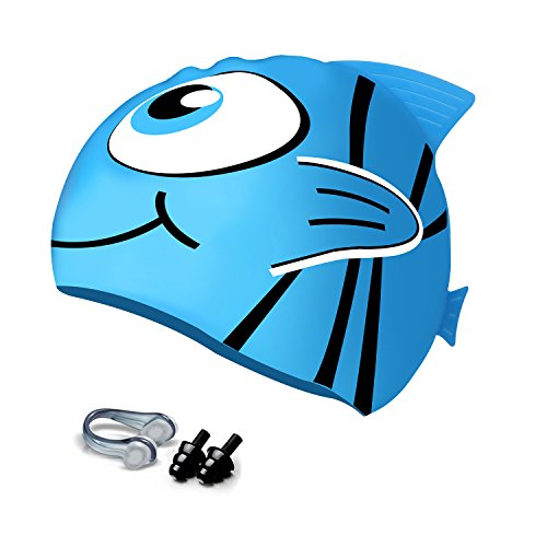 Hurdilen Kids Swim Cap,Silicone Swimming Cap for Children with Nose Clips & Earplugs, Funny Cartoon Patterns for Kids, Waterproof Antibacterial for Youth Kids Girls Boys(Ages:2-eight) – DiZiSports Store