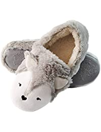 Fox Cute Animal Slippers Low | Womens Fuzzy Warm Slippers | Soft Fleece Plush Home Slippers | Anti-Slip Slippers