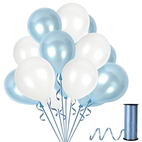 Light Blue and White Latex Balloon Decorations Baby Shower for Boy Happy Birthday Party Supplies with 12 Inch Assorted Charming Chrome Bouquet