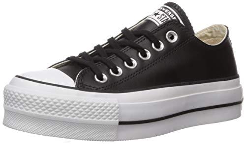 Converse Women's Chuck Taylor All Star Lift Clean Sneaker, Black/White, 7 M US (Converse Women Leather)