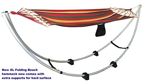 Folding Beach Hammock Stand XL Size. Up to 250 Lbs. Portable Foldable Aluminum Travel Hammock Stand. Great for Beach, Sand, Grass. Free Fabric Hammock Included. Moon Shape Hammock.