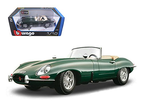 Bburago 1961 Jaguar E Type Convertible Green 1/18 Diecast Model Car by 12046grn