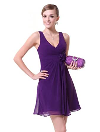 Ever Pretty Ruffles Sexy V-neck Purples Flower Chiffon Bridesmaid Dress 03586, HE03586PP06, Purple, 4US