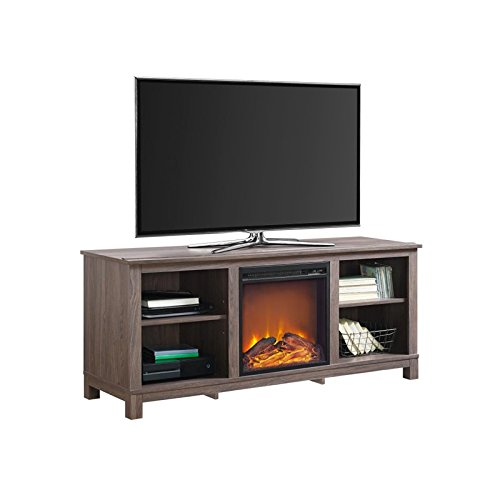 Ameriwood Home Edgewood TV Console with Fireplace for TVs up to 60'' (Distressed Brown Oak)
