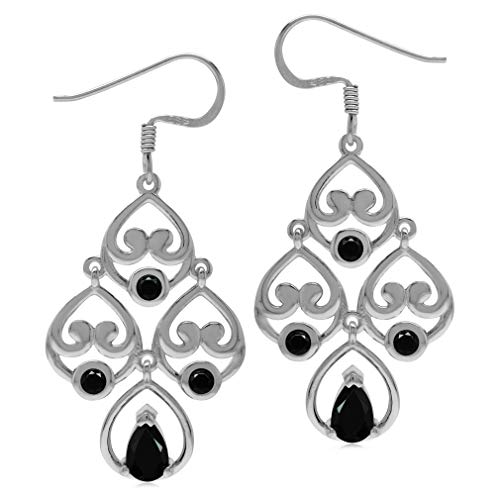 (1.6ct. Natural Black Spinel 925 Sterling Silver Heart Victorian Style Chandelier Dangle Earrings)