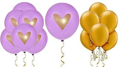 "Purple Gold Heart Balloons Love 12"" Latex Wedding Decoration Kit Proposal Vow Renewal Valentine's Bridal Shower Party Bachelorette Celebration Anniversary Violet"