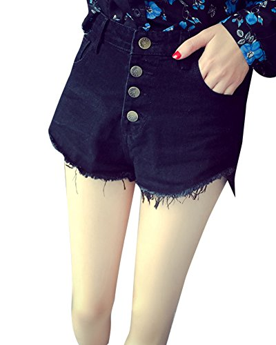 Haute Pantalons Trou Noir Ete Denim Jeans Plage Taille de Femme Shorts tpqqZ4w
