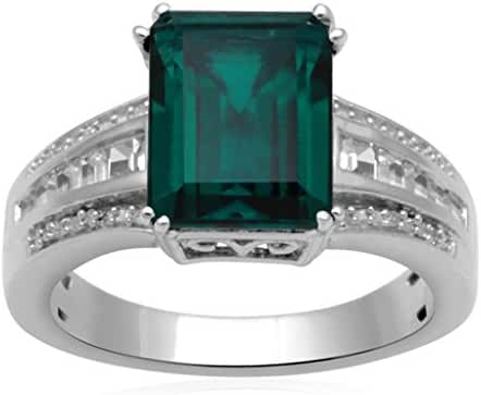 Jewelili Sterling Silver Created Emerald Octagon, Created White Sapphire and White Diamond Accent, Single Stone Ring, Size 7