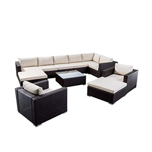 Great Deal Furniture Tom Rosa Outdoor 8 Seater Wicker Sectional Sofa Set with Cushions, Multibrown with Beige Cushions