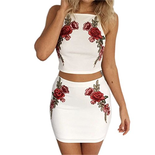 4f06a909e070f Women s Floral Embroider Crop Top Midi Skirt Outfit Two Piece Bodycon Dress  at Amazon Women s Clothing store