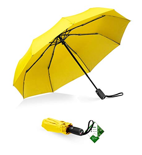 Repel Windproof Travel Umbrella with Teflon Coating (Yellow)