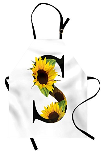 Sunflower Apron - Ambesonne Letter S Apron, Letter S with Flora Elements Sunflowers on Dark Colored Abstract Art Print, Unisex Kitchen Bib Apron with Adjustable Neck for Cooking Baking Gardening, Yellow Green Black