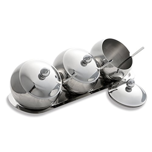 Emiica Premium Stainless Steel Condiment Set - 3 Condiment Pots with Lids, Serving Spoons and 1 Condiment Tray ()
