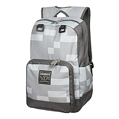 "JINX Minecraft Miner Kids Backpack (Grey, 18"") for School, Camping, Travel, Outdoors & Fun"